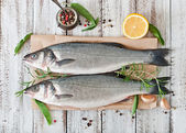 Two raw sea bass with spices — Stock Photo