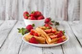 Belgium waffles with  strawberries — Stock Photo