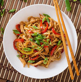 Udon noodles with chicken and peppers — Stock Photo
