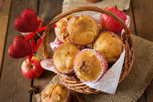 Muffins with apples , cinnamon and hearts decorations — Stock Photo