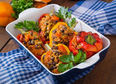 Stuffed peppers with rice, beans and pumpkin — Stock Photo