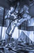 Working welding robot — Stock fotografie