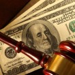 Wooden gavel and dollar — Stock Photo #57801023