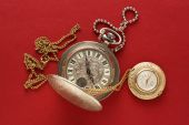 Two pocket watches with chain — Stock Photo