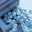 Pearls in wooden box — Stock Photo #63455473