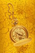 Golden pocket watch with chain  — Stock Photo