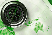 Compass on map background — Stock Photo
