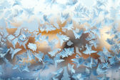 Shiny winter window ice decoration — Stock Photo