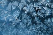 Shiny winter window ice decoration — Stock Photo