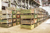 Big storage room with metal boxes — Стоковое фото