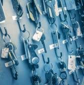Office room keys with tags — Stock Photo