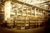 Big storage room with metal boxes — Stock Photo