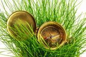 Vintage compass on fresh green grass — Стоковое фото