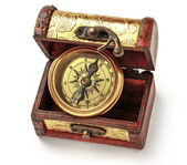 Vintage compass in box — Stock Photo