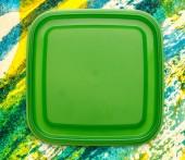 Green square plastic cover — Stock Photo