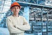 Workman in big storage room — Stock Photo