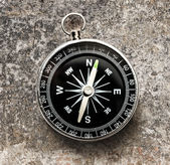 New black compass — Stock Photo