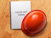 Zdrowia i bezpieczeństwa rejestru z kaskiem — Zdjęcie stockowe