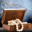 Chest with white pearl necklace — Stock Photo #80375982