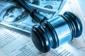 Budget, tax form, gavel and dollars — Stock Photo