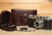 Vintage cameraand light meter — Stock Photo