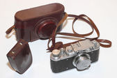 Isalated vintage camera and light meter — Stock Photo