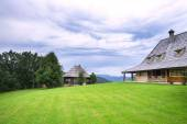 Green mown the lawn in front of a wooden house — Stock Photo