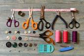 Scissors, thread, buttons and needles for sewing — Stock Photo