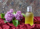 Schaduwplaatsen in een fles met lila bloemen — Stockfoto