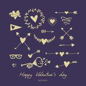 Vector set valentines day — Stock Vector