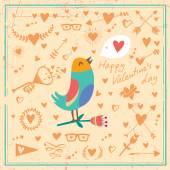 Card bird and hearts — Stock Vector