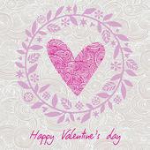 Heart and flowers card vector — Stockvektor