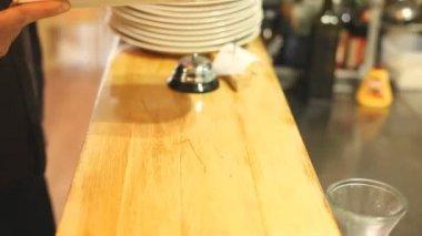 Waiter placing eggplant dish — Stockvideo