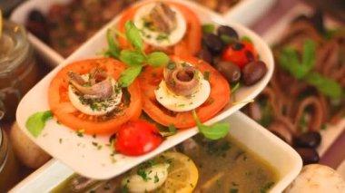 Caprese salad plate — Stock Video