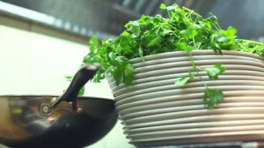 Watercress salad in the kitchen — Stock Video