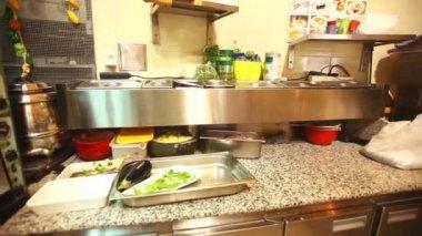 Restaurant kitchen interior — Stock Video