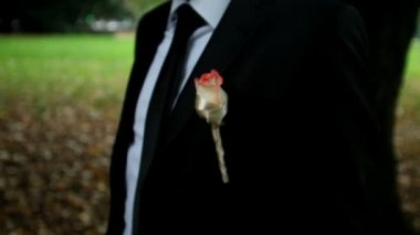 Standing bridegroom with lapel flower — Stock Video