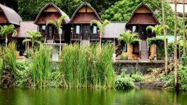 Nature resort on Lake Batur — Video Stock