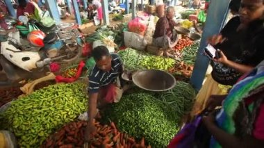 Women buying vegetables — Stock Video