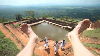 View of the Rock Fortress top in Sigiriya — Stock Video