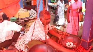 Local man selling garlic — Stock Video