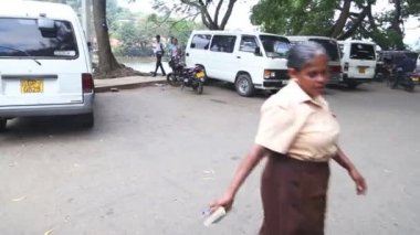 Local woman on the road near the Temple — Stock Video