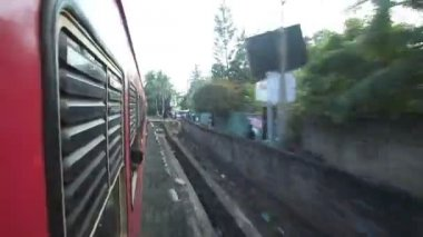 View of Colombo suburbs from passing train — Stock Video