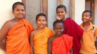 Buddhist monk boys — Stock Video