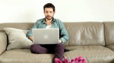 Man having video chat — ストックビデオ