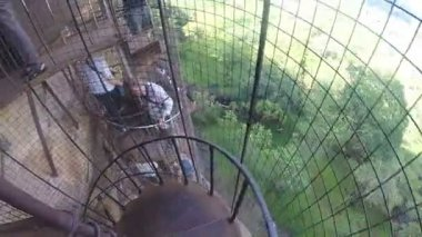 Tourists descending spiraling metal staircase at Sigiriya. — Stock Video