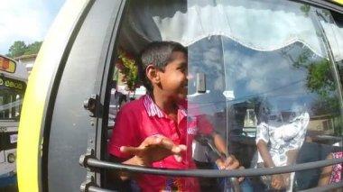 Cute children in bus — Стоковое видео