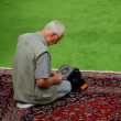 Muslim devotee in afternoon prayer in mosque — Stock Video #58596205