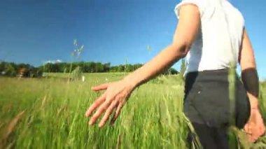 Mulher andando tocando a grama alta — Vídeo stock