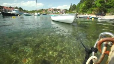 Boats in harbour of old town Krk — Stockvideo